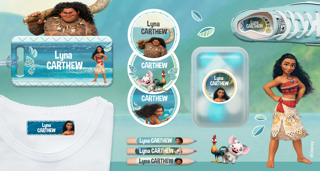 Our name labels illustrated with moana's characters with background