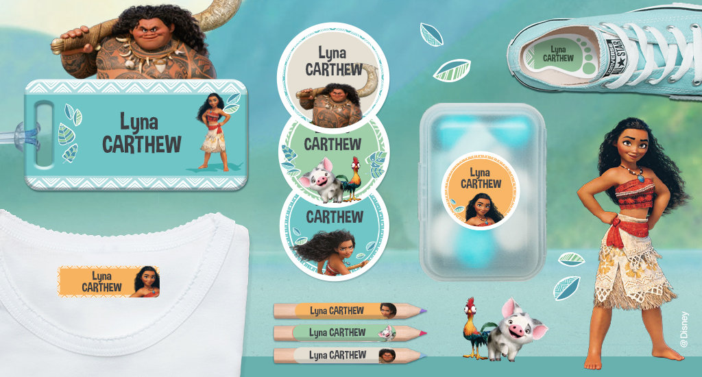 Our name labels illustrated with moana's characters