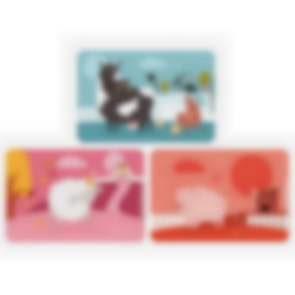 Set of 3 magnetic booster cards for the Ludibox - Lunch Box - Farm Animals