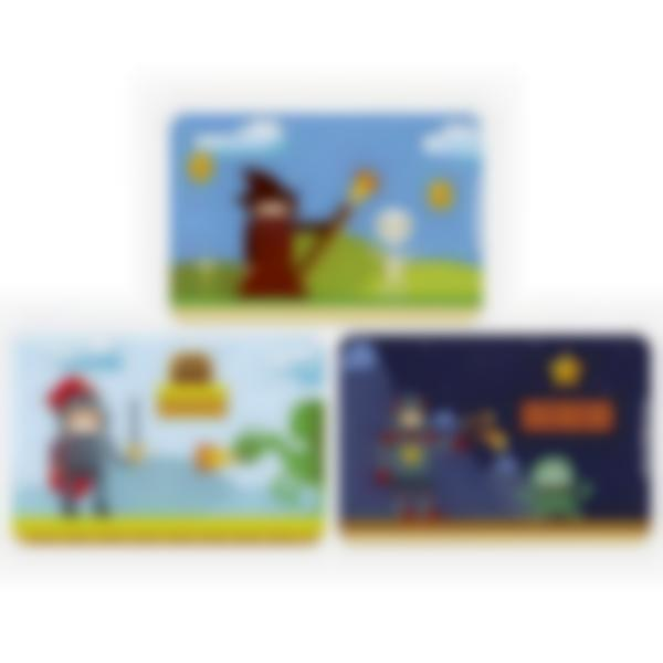Set of 3 magnetic booster cards for the Ludibox - Lunch Box - Retro Games