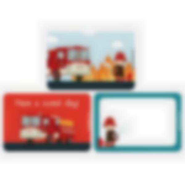 Set of 3 magnetic booster cards for the Ludibox - Lunch Box–Fireman