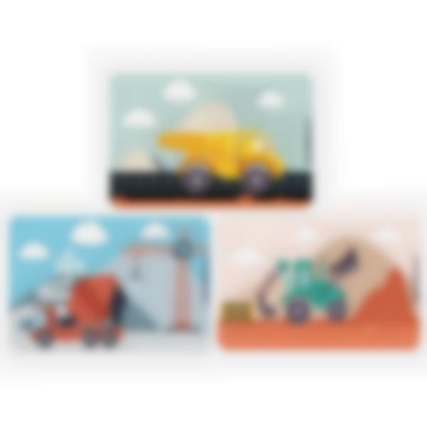 Set of 3 magnetic booster cards for the Ludibox - Lunch Box - Civil Engineering