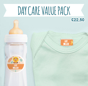 Name labels (stick-on and iron-on) to tag clothes and identify baby's or toddler's garment, child care equipment.