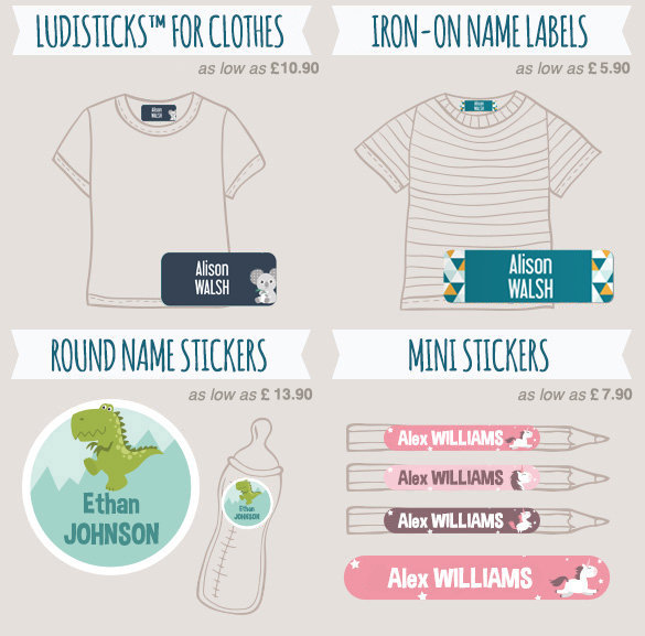 All name labels (stick-on, iron-on, round, circle…) to tag clothes and identify all children and adult belongings.