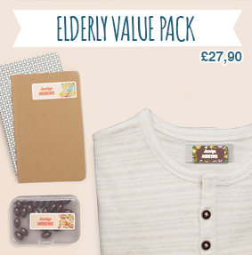 Name labels (stick-on and iron-on) to tag clothes and identify items of elderly people in retirement homes.